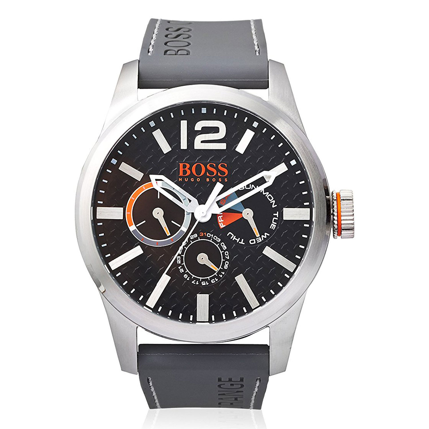 Hugo boss orange watch with stainless steel and grey silicon strap 1513251 for Hugo boss watches