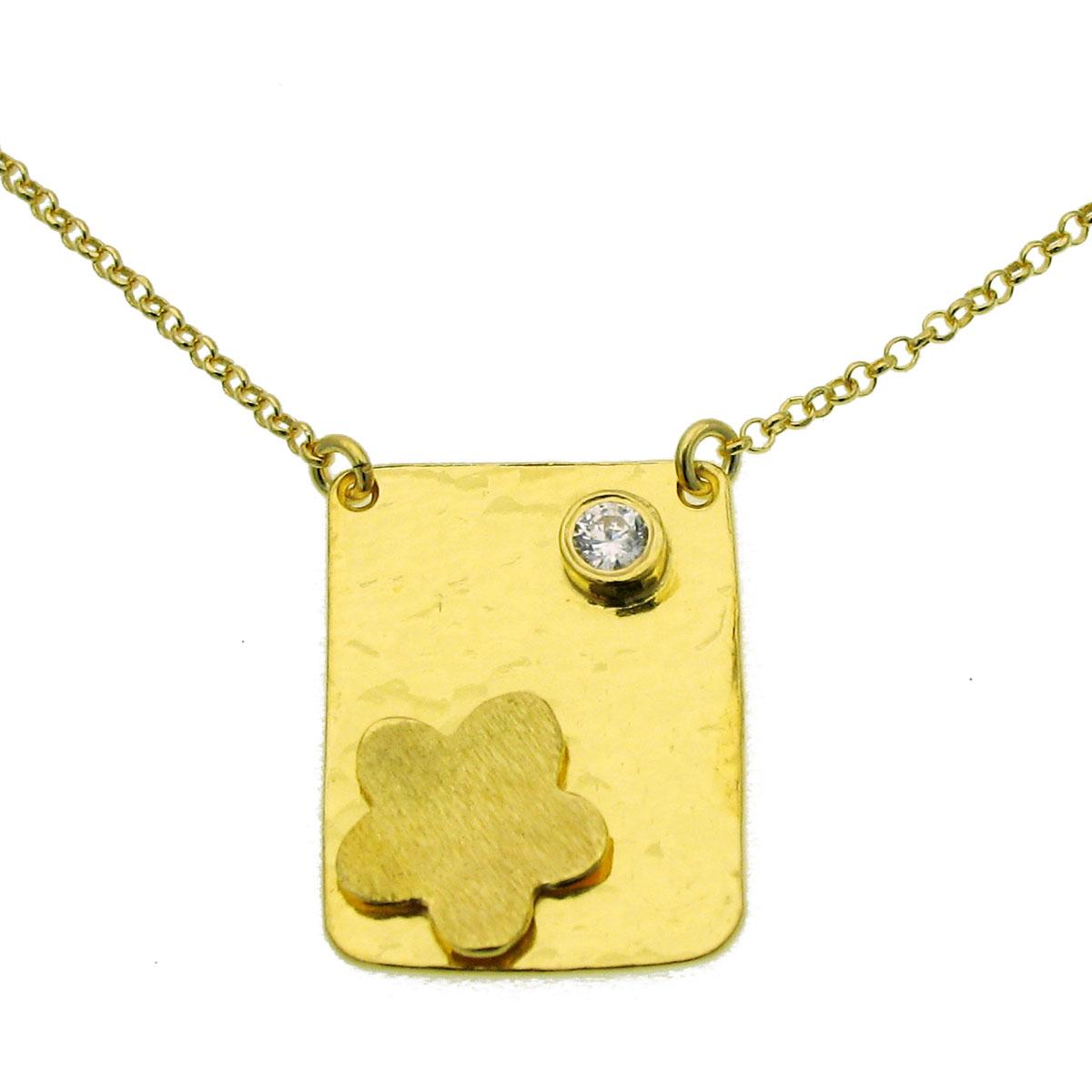 Χειροποίητο κολιέ (Λουλούδι) από επιχρυσωμένο ασήμι 925ο με ημιπολύτιμες  πέτρες (Ζιργκόν).  IJ-040002  fd376c4ba05