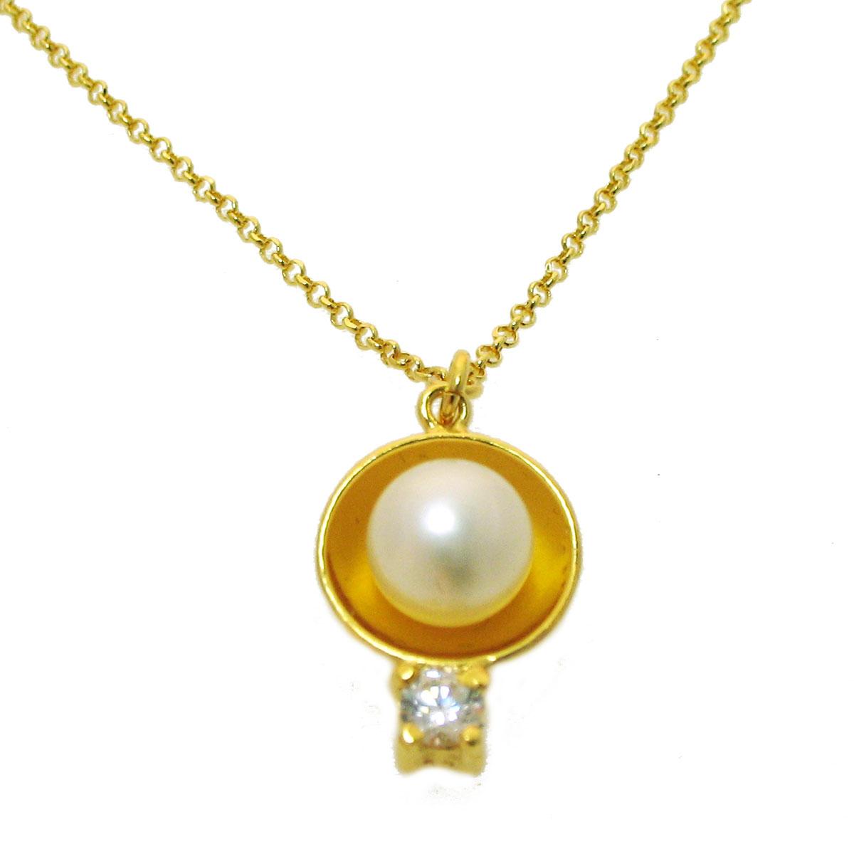 Χειροποίητο κολιέ από επιχρυσωμένο ασήμι 925ο με ημιπολύτιμες πέτρες  (Πέρλες και Ζιργκόν).  IJ-040006  e0dee5b8606
