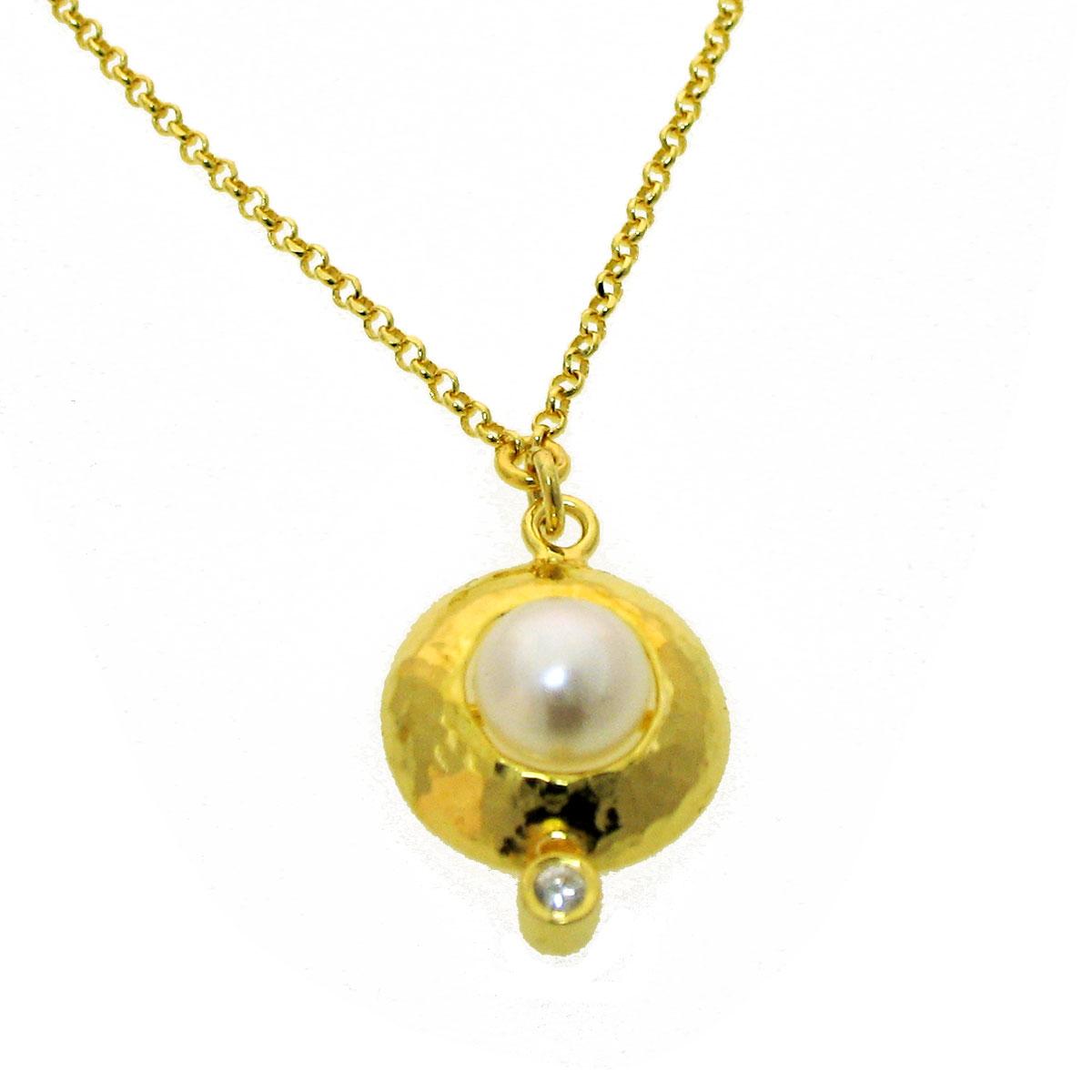 Χειροποίητο κολιέ από επιχρυσωμένο ασήμι 925ο με ημιπολύτιμες πέτρες  (Πέρλες και Ζιργκόν).  IJ-040009  38cb3690092