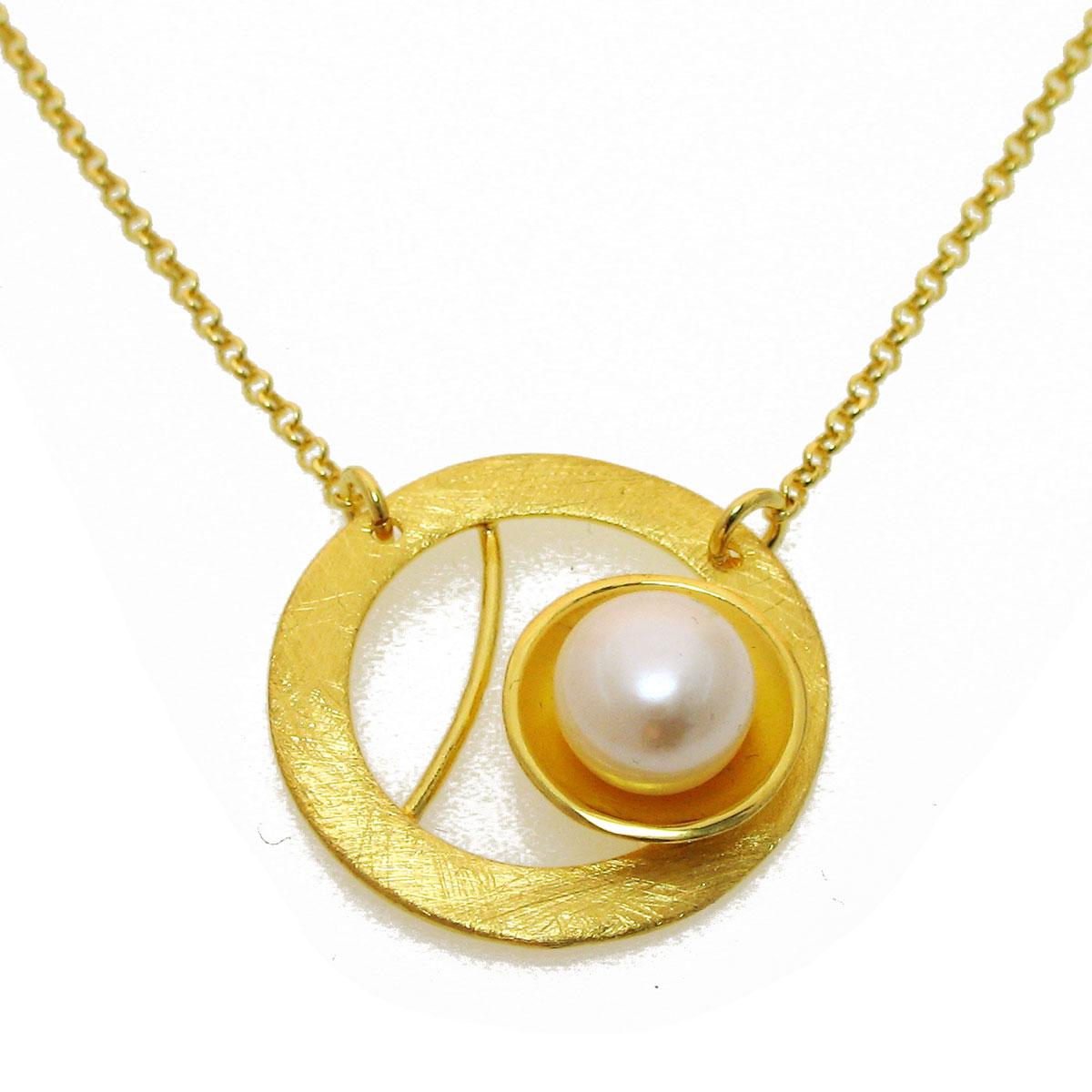 Χειροποίητο κολιέ από επιχρυσωμένο ασήμι 925ο με ημιπολύτιμες πέτρες  (Πέρλες).  IJ-040011  59aa1b3a5d5