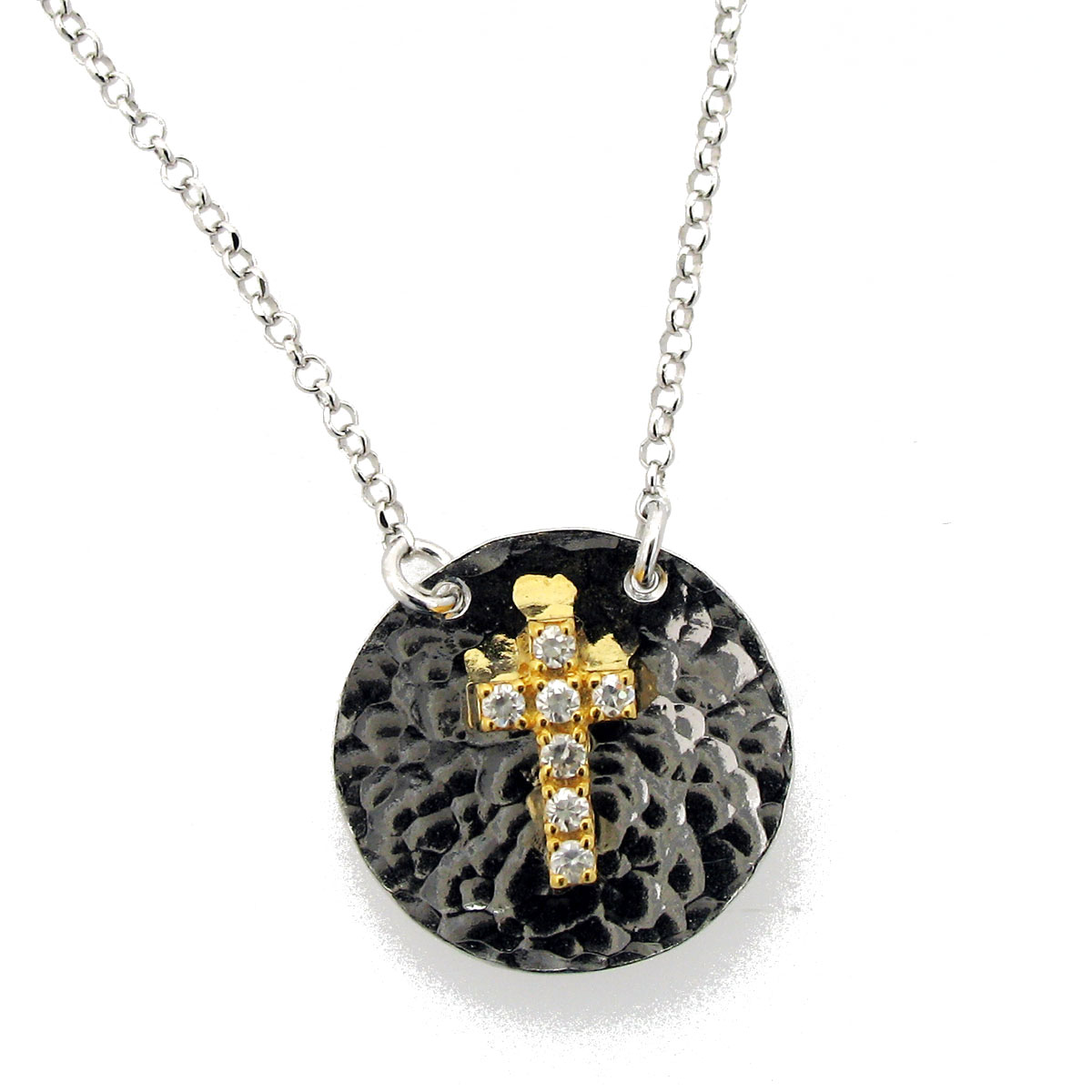 Χειροποίητο κολιέ (Σταυρός) από επιχρυσωμένο ασήμι 925ο με ημιπολύτιμες  πέτρες (Ζιργκόν).  IJ-040017  1f5ea67f05a