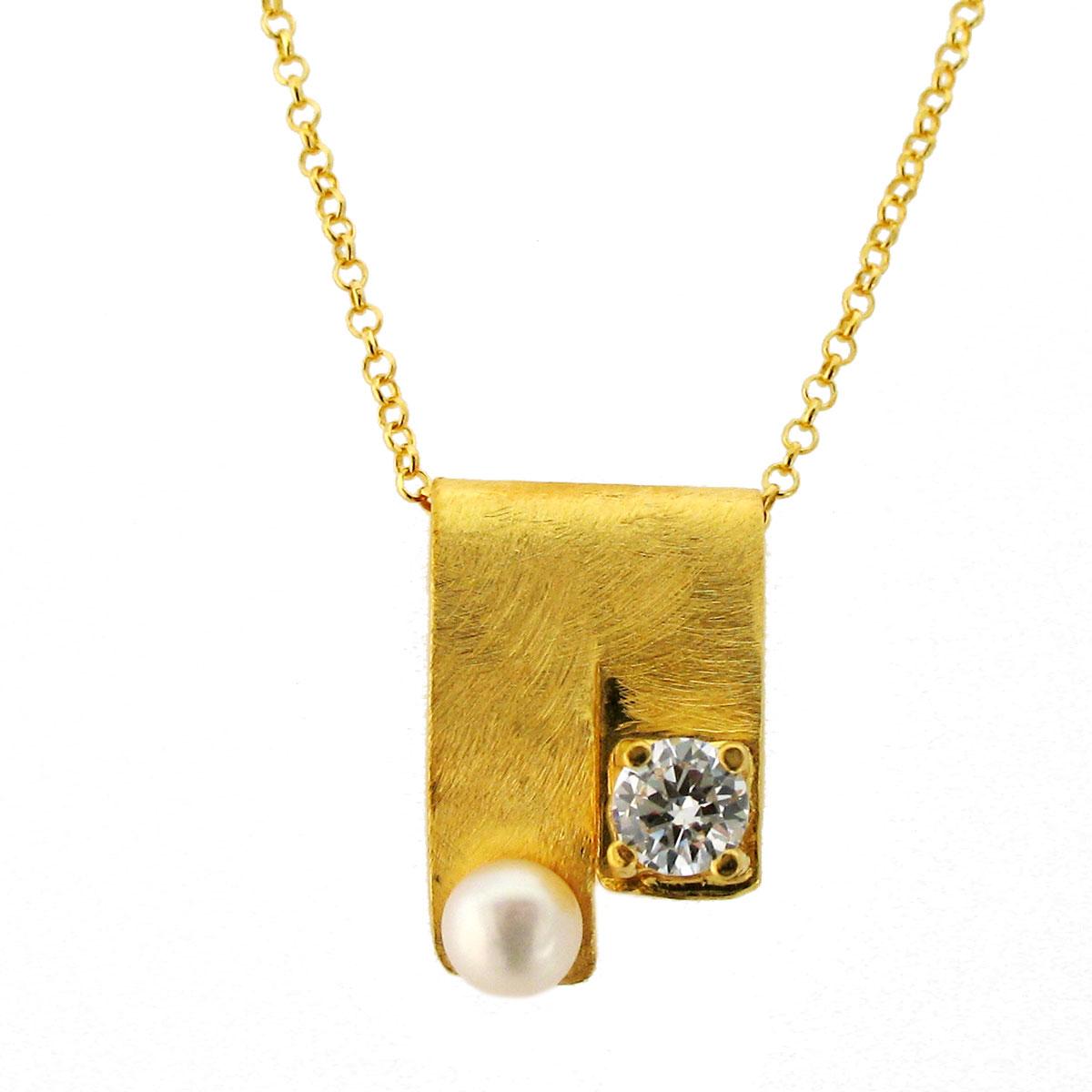 Χειροποίητο κολιέ από επιχρυσωμένο ασήμι 925ο με ημιπολύτιμες πέτρες  (Πέρλες και Ζιργκόν).  IJ-040024  b31399f01a0