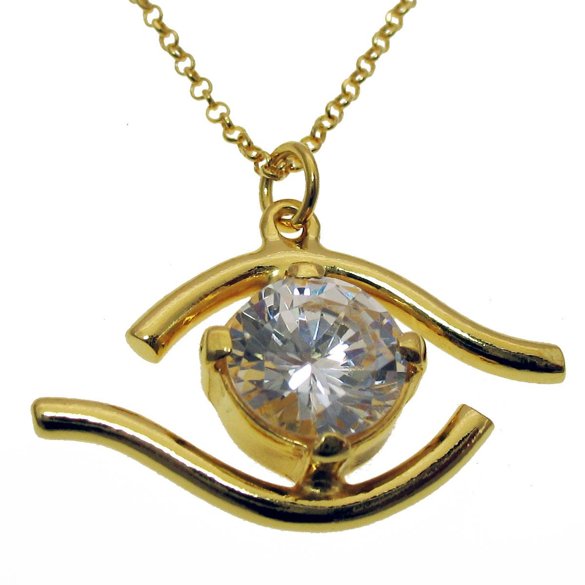 Χειροποίητο κολιέ (Ματάκι) από επιχρυσωμένο ασήμι 925ο με ημιπολύτιμες  πέτρες (Ζιργκόν).  IJ-040029  c00969983cc