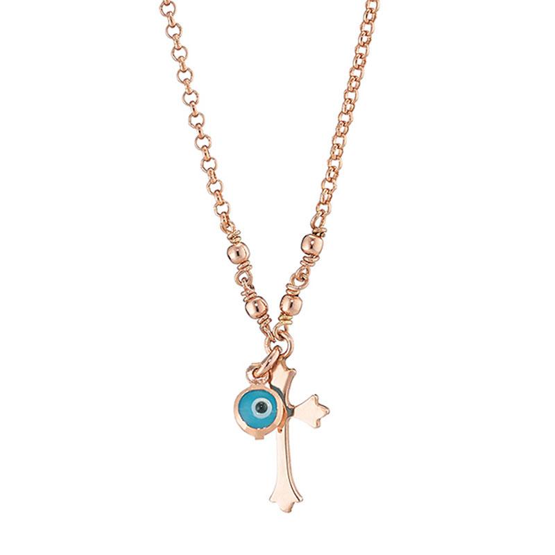 Loisir κολιέ (Σταυρός) από ροζ επιχρυσωμένο ασήμι 925ο με ημιπολύτιμες  πέτρες (Ματάκι).  01L05-01301  c40638d3d32