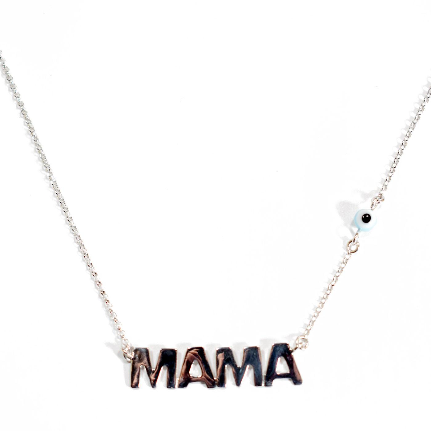 Χειροποίητο κολιέ (Μαμά) από επιπλατινωμένο ασήμι 925ο με ημιπολύτιμες  πέτρες (Ματάκι).  IJ-Custom-Mama  ce113cc2ac2