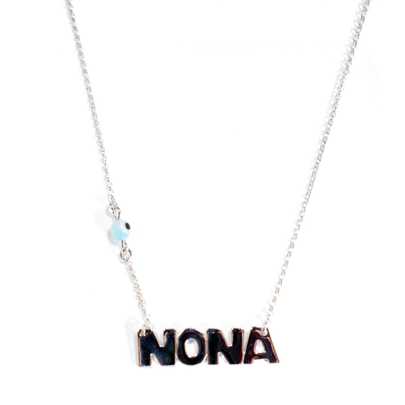 Χειροποίητο κολιέ (Νονά) από επιπλατινωμένο ασήμι 925ο με ημιπολύτιμες  πέτρες (Ματάκι).  IJ-Nona-Platinum  794bb683281
