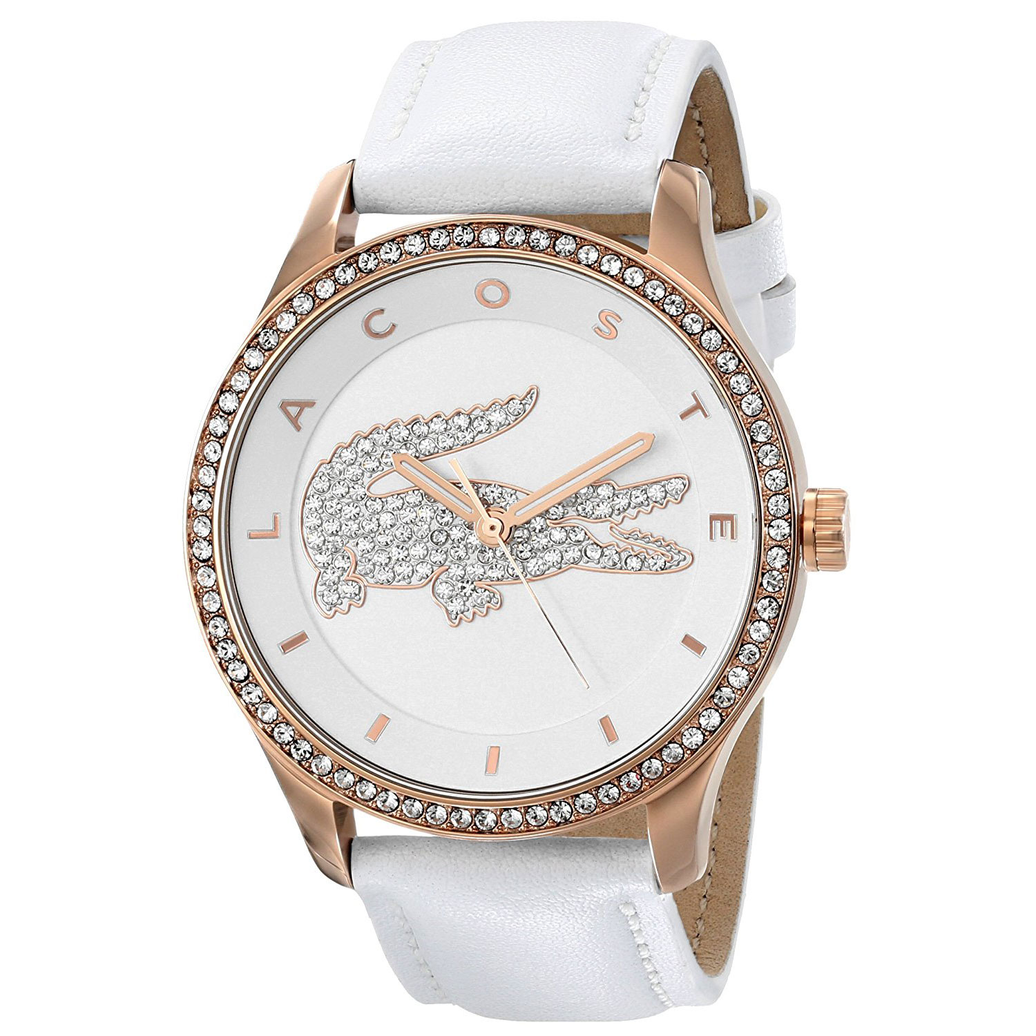 lacoste watch with rose gold stainless steel and white leather strap 2000821. Black Bedroom Furniture Sets. Home Design Ideas