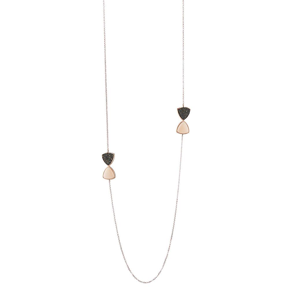 Oxette κολιέ από ροζ επιχρυσωμένο ασήμι 925ο με ημιπολύτιμες πέτρες  (Κρύσταλλοι Quartz).  01X05-01875  4fe3e62ede5