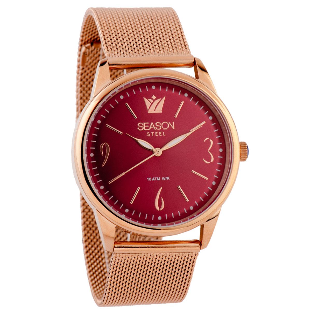 Season Time ατσάλινο γυναικείο ρολόι 6-4-4-8 της σειράς Minimal Steel με  ροζ χρυσό μπρασελέ 330d32dbfc5