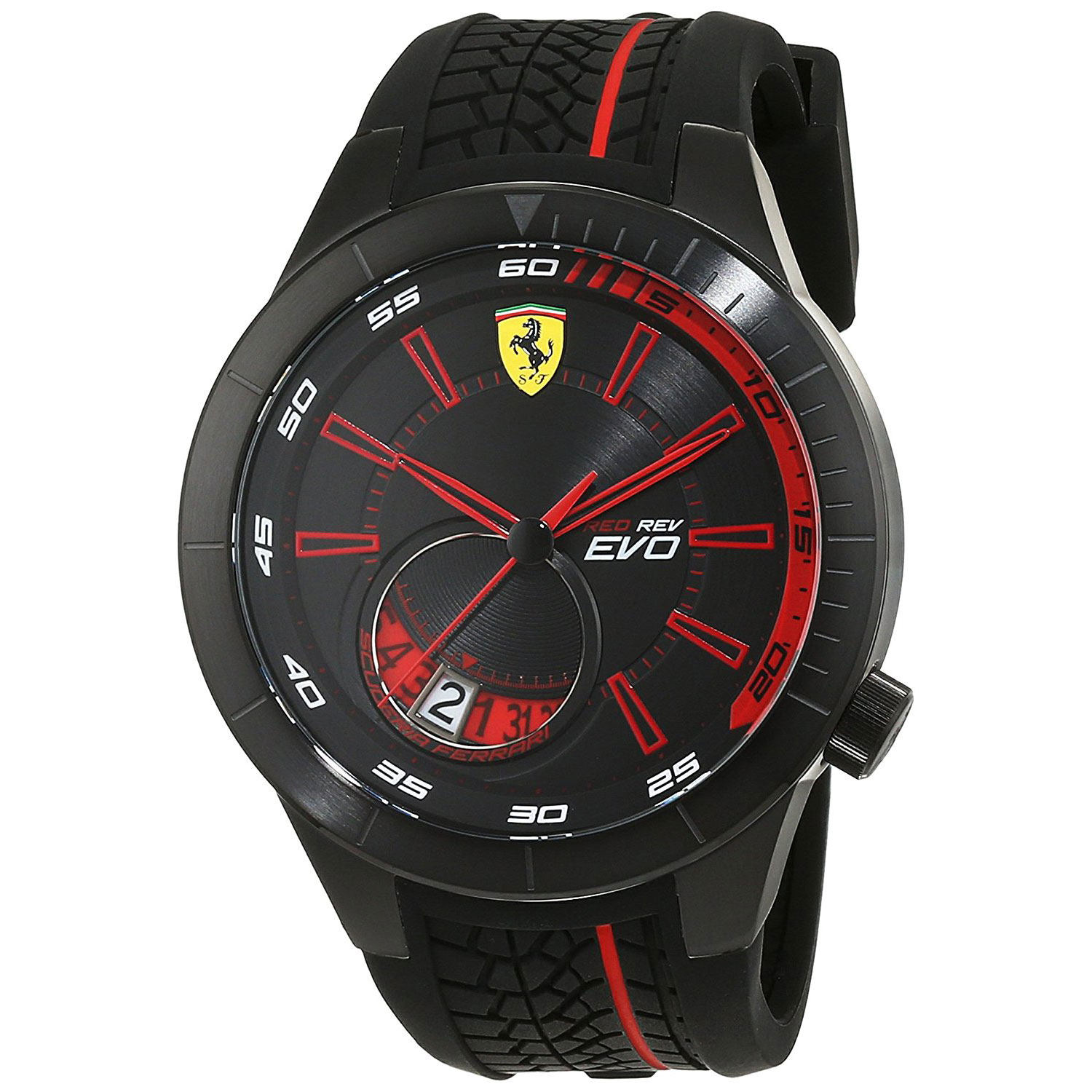 carbon men dial jomashop black s watch mens fiber silicone chronograph scuderia watches ferrari