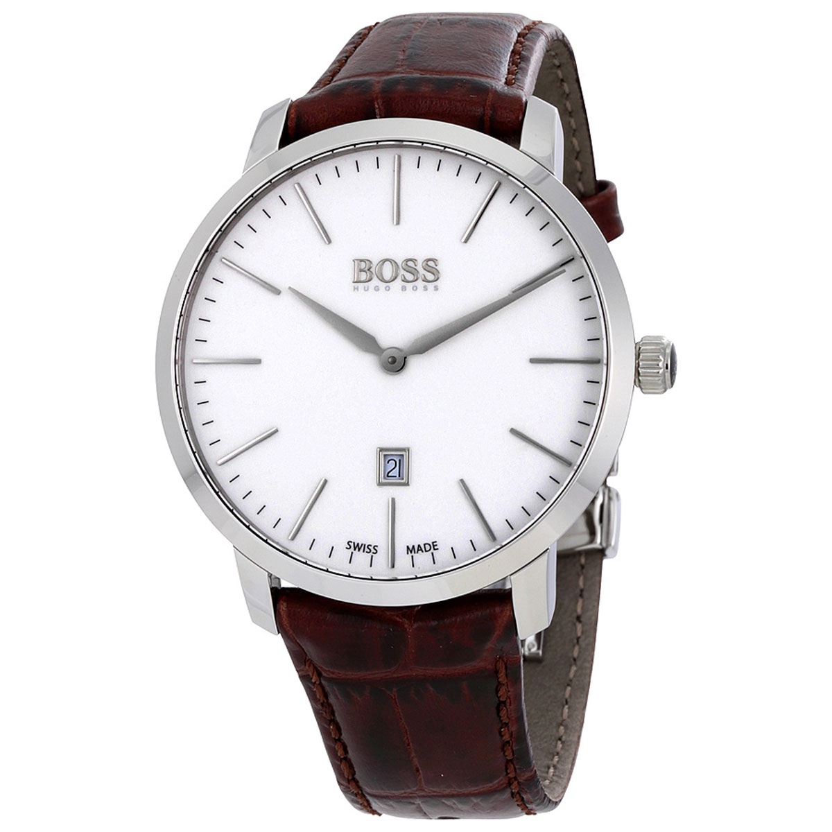 Hugo Boss Watch With Stainless Steel And Brown Leather Strap 1513255