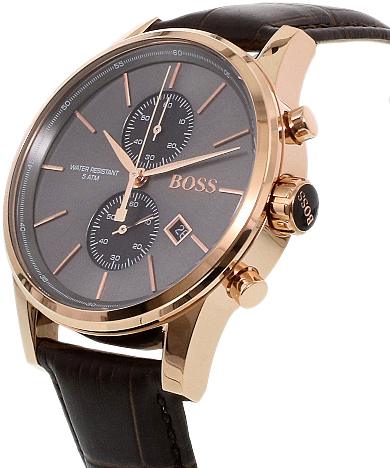 hugo boss watch with rose gold stainless steel and black leather strap 1513281. Black Bedroom Furniture Sets. Home Design Ideas