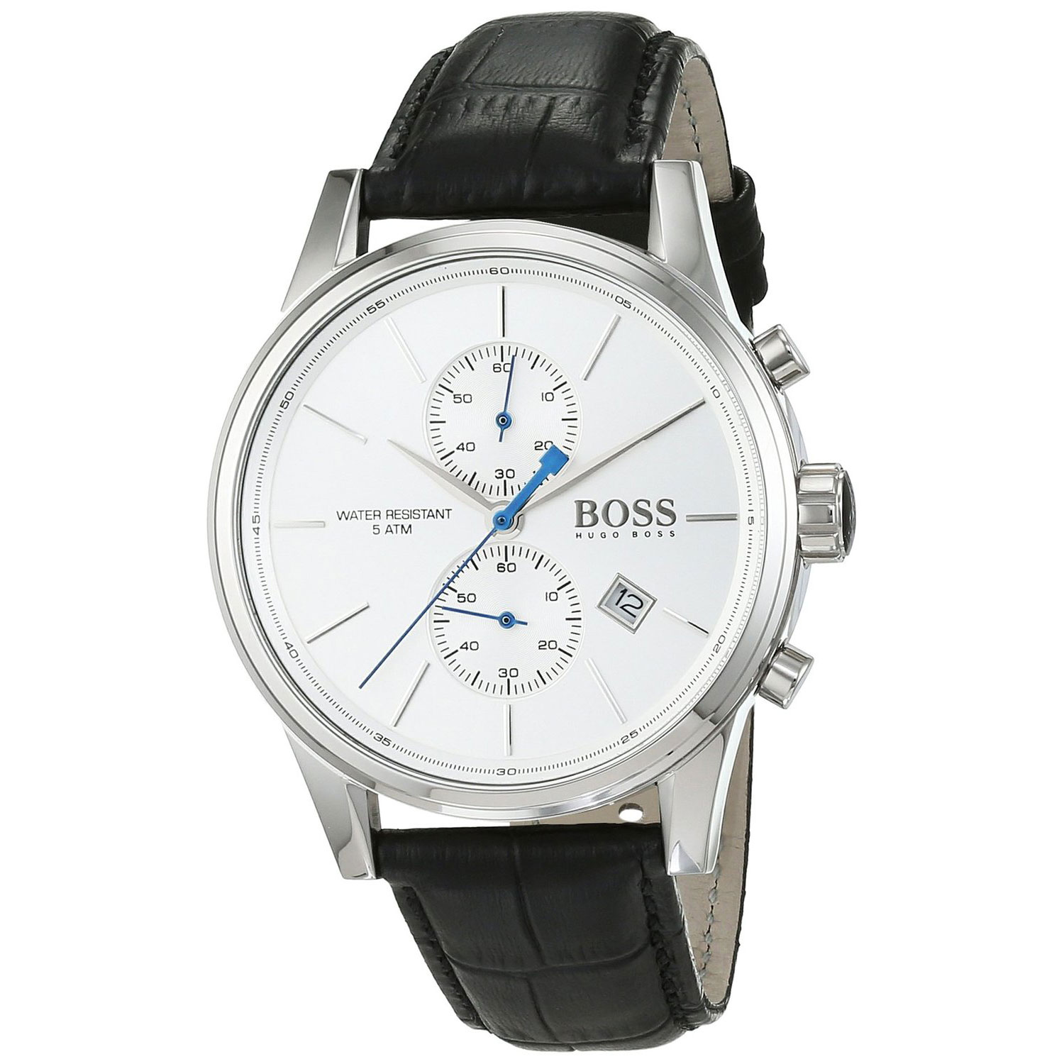 Hugo Boss Watch With Stainless Steel And Black Leather Strap 1513282