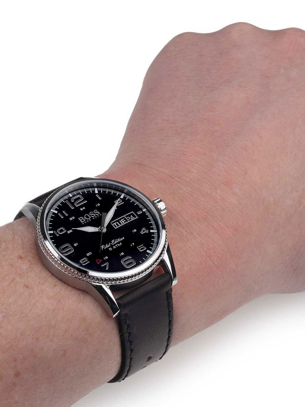 Hugo boss watch with stainless steel and black leather strap 1513330 for Black leather strap