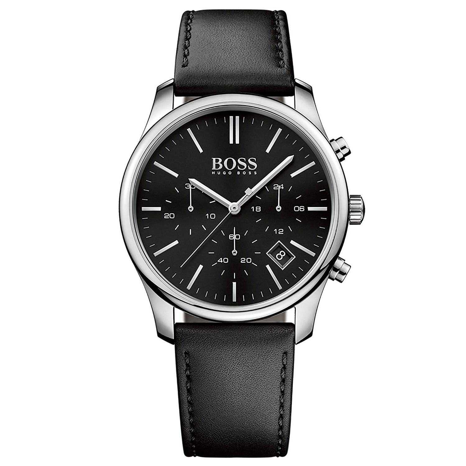 Hugo Boss Watch with stainless steel and black leather