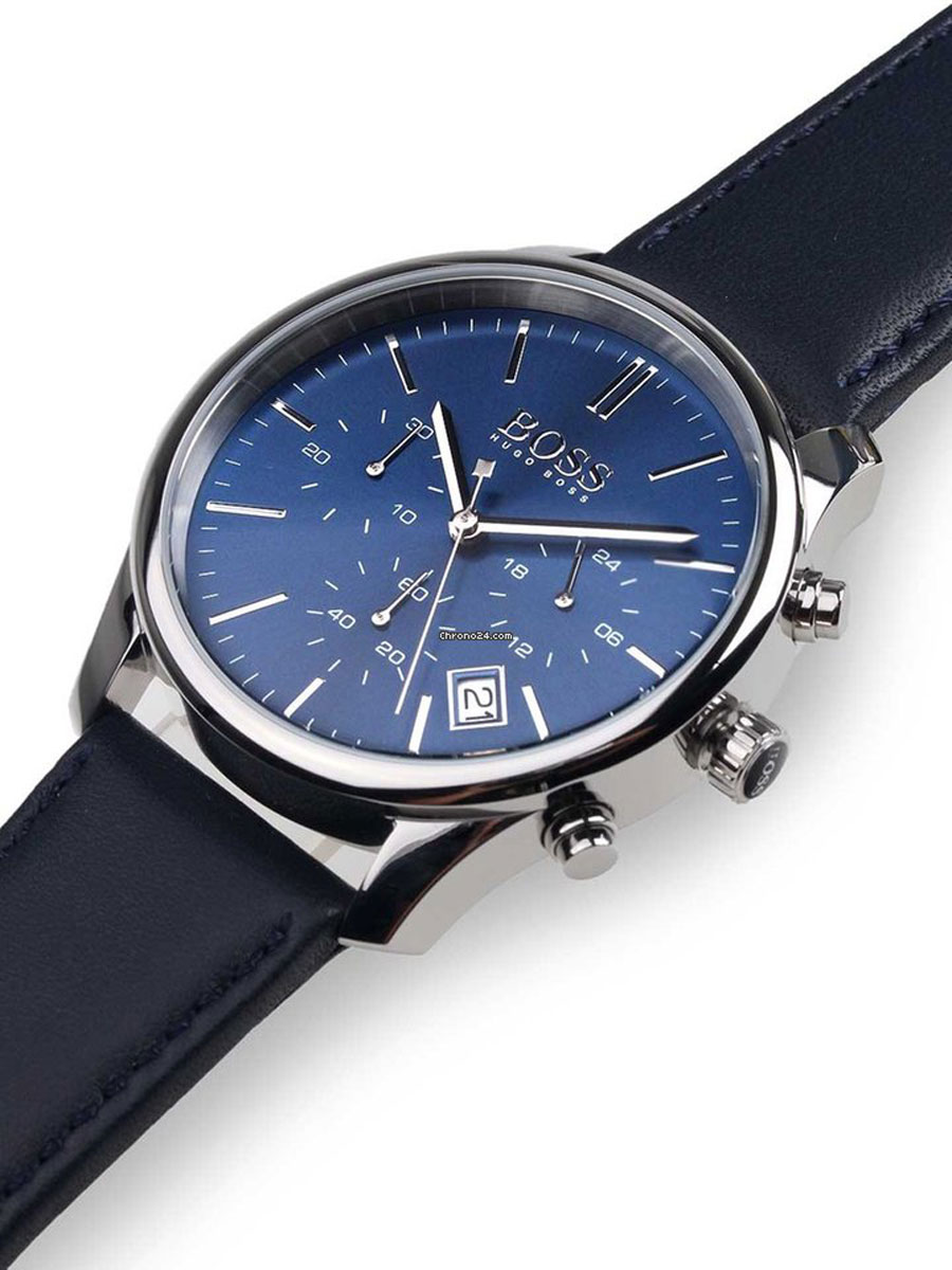6653515ea Hugo Boss Watch with stainless steel and blue leather strap 1513431 image 2