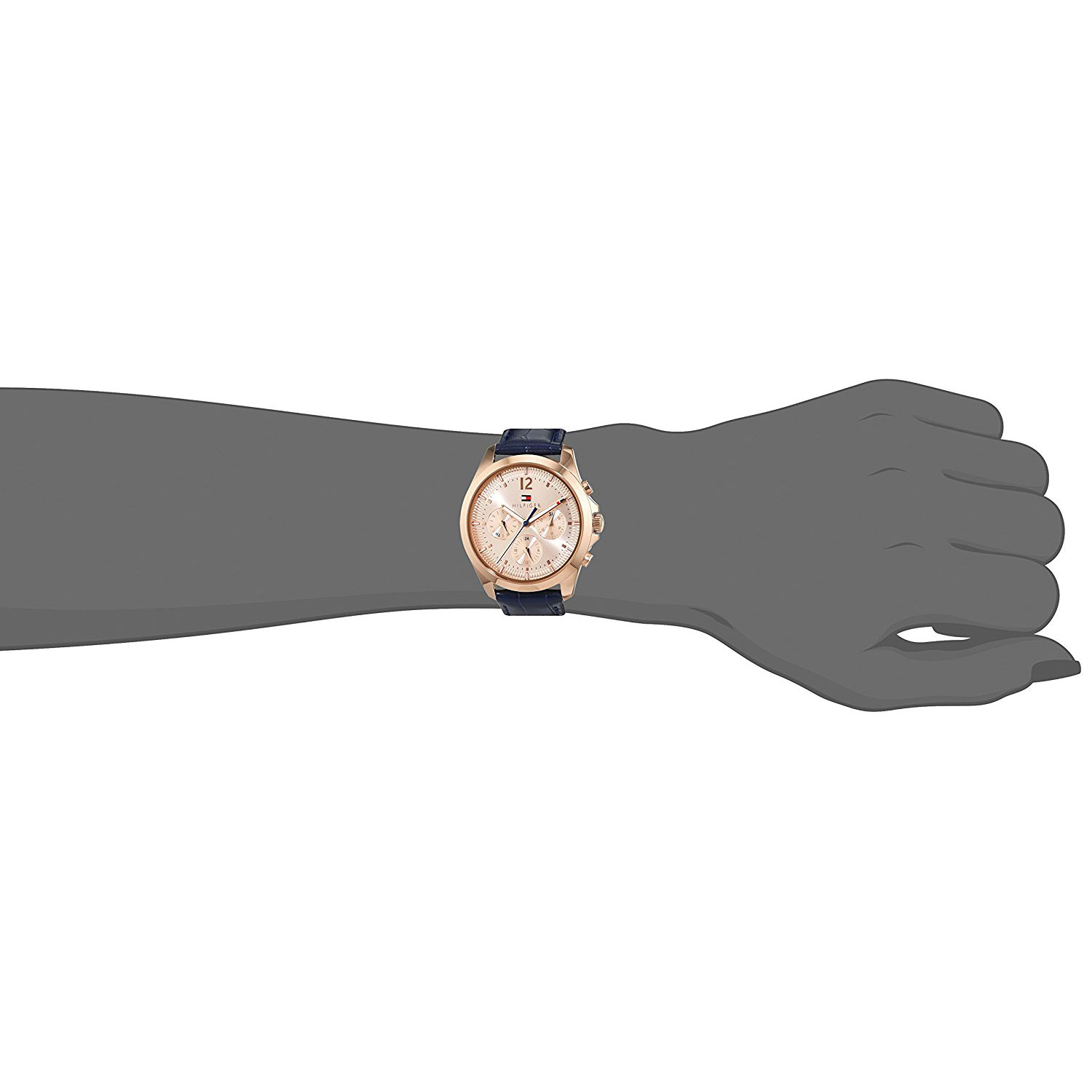 bc0f4d49e4 Tommy Hilfiger Watch with rose gold stainless steel and dark blue leather  strap 1781703 at Hand