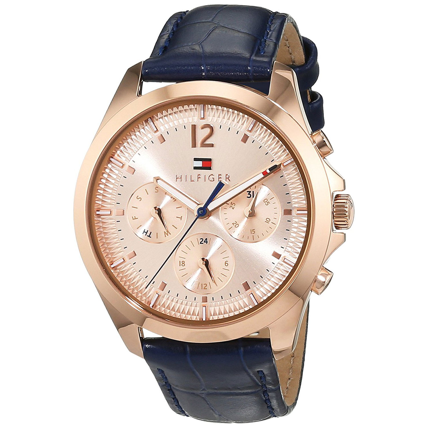 90e7c94b3a Tap to expand · Tommy Hilfiger Watch with rose gold stainless steel and  dark blue leather strap 1781703