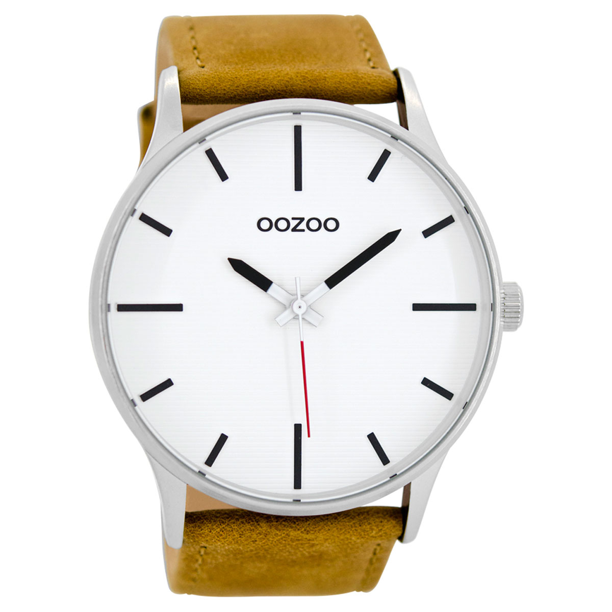 OOZOO Timepieces ανδρικό ρολόι XL με ασημί μεταλλική κάσα και καφέ  δερμάτινο λουράκι C8550 452fabdf169
