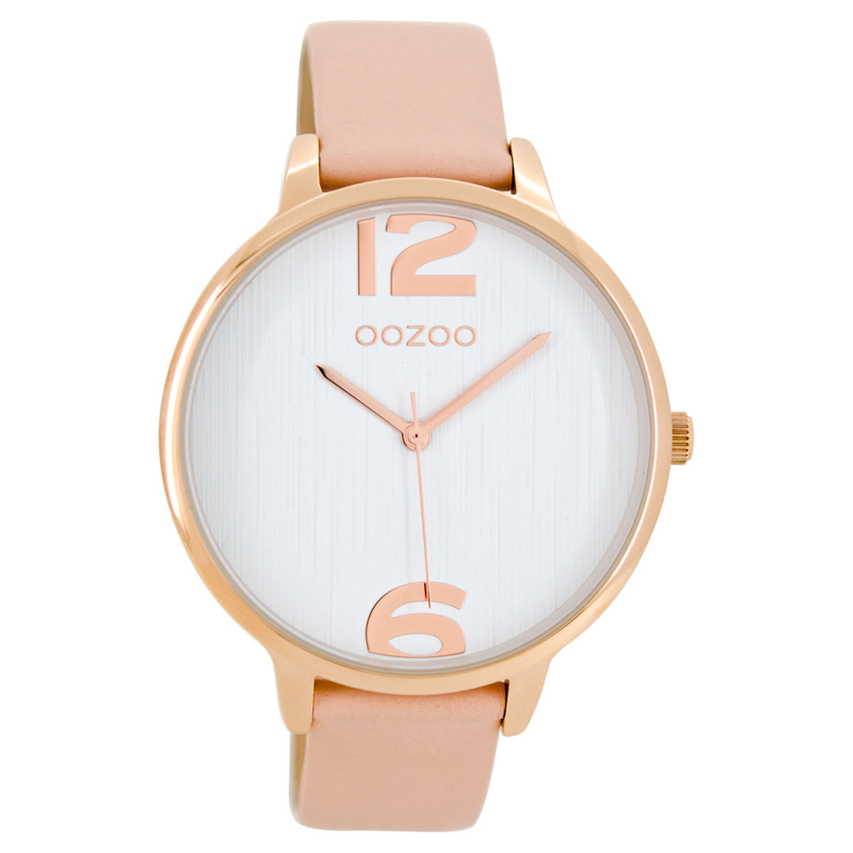 OOZOO Timepieces ladies watch with rose gold metallic frame and pink  leather strap C8657. Tap to expand 72bad043996