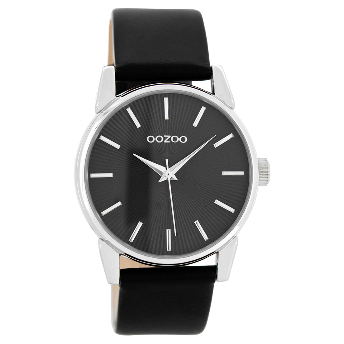 OOZOO Timepieces γυναικείο ρολόι με ασημί μεταλλική κάσα και μαύρο  δερμάτινο λουράκι C8679 1962bf031ec