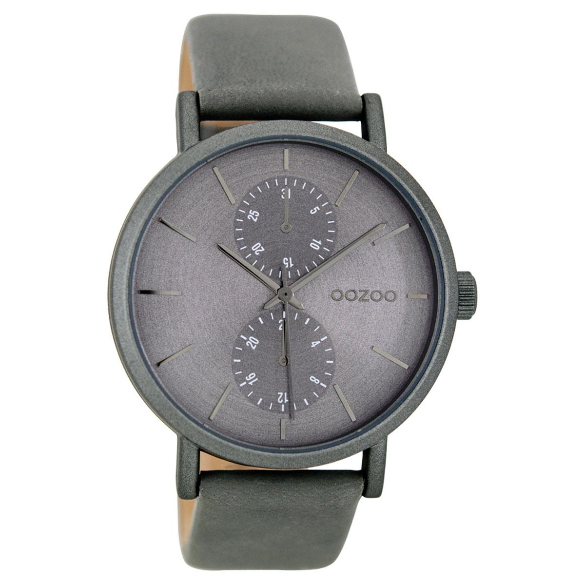 OOZOO Timepieces γυναικείο ρολόι με γκρι μεταλλική κάσα και γκρι δερμάτινο  λουράκι C8686 3449d1bdeff