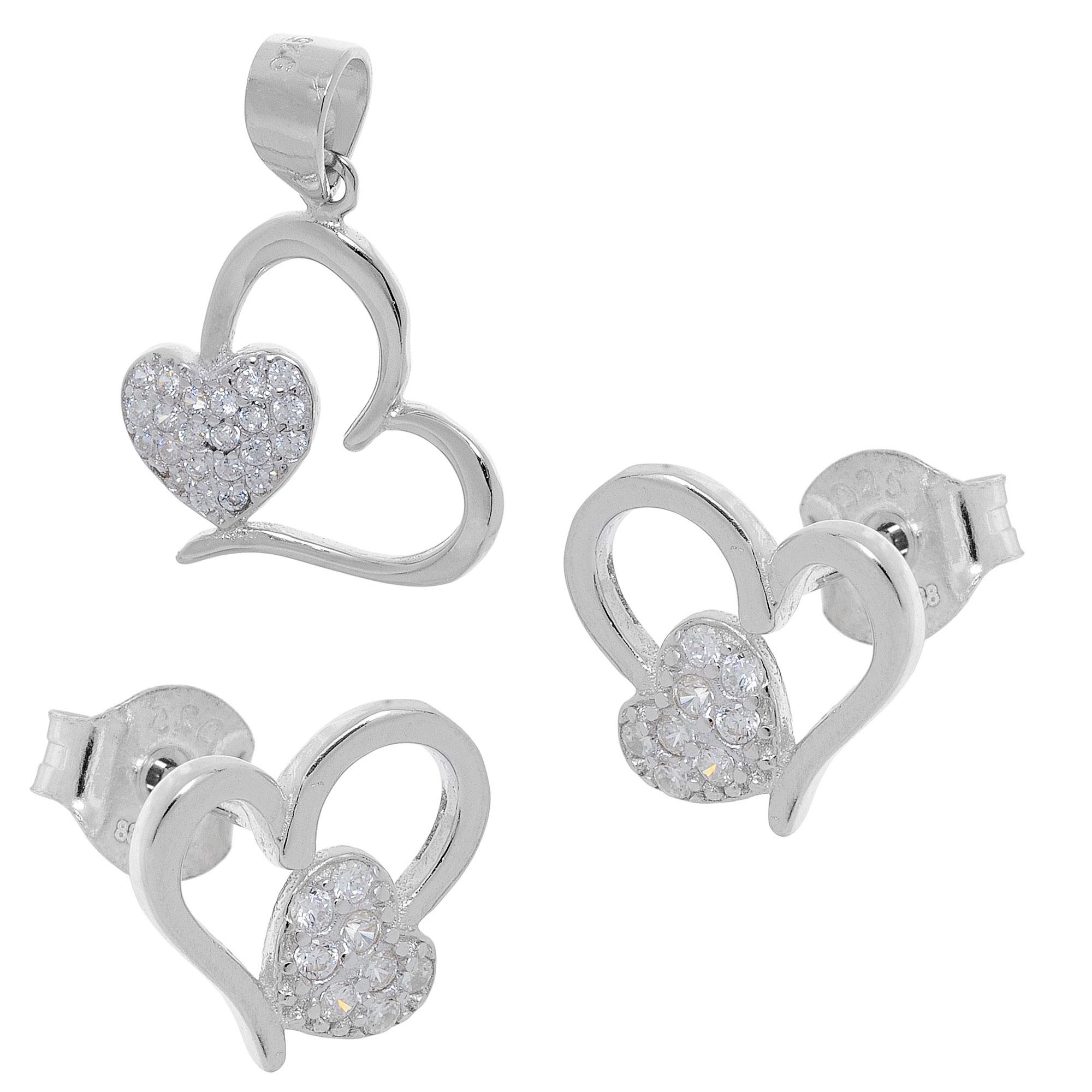Σετ κοσμημάτων Prince Silvero (μενταγιόν και σκουλαρίκια καρδιά) από  επιπλατινωμένο ασήμι 925ο με ημιπολύτιμες πέτρες (ζιργκόν). YF-SE013-SET 9964cb8e112