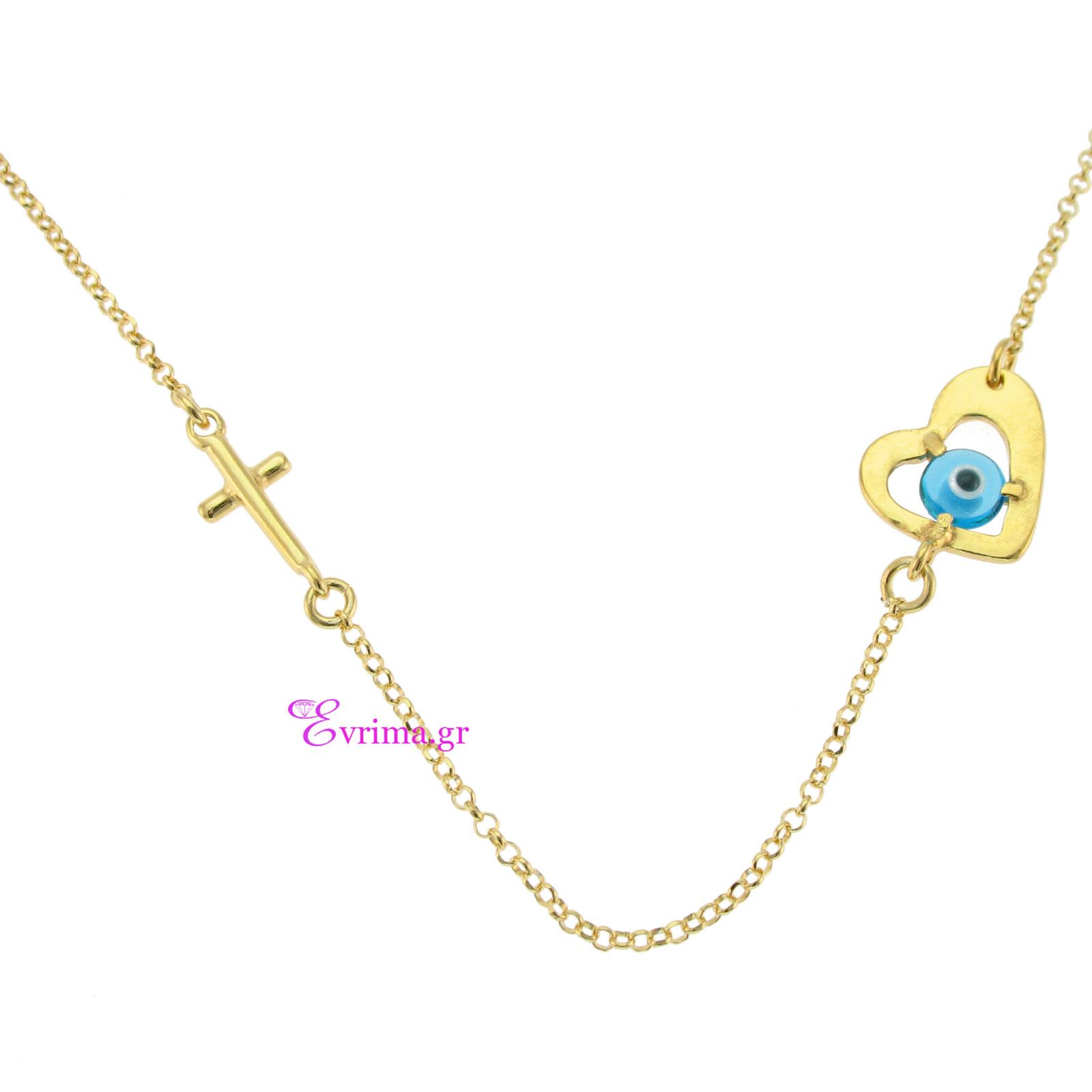 Χειροποίητο κολιέ (Σταυρός και Καρδιά) από επιχρυσωμένο ασήμι 925ο με  ημιπολύτιμες πέτρες (Ματάκι). IJ-040048 e94115bb62f