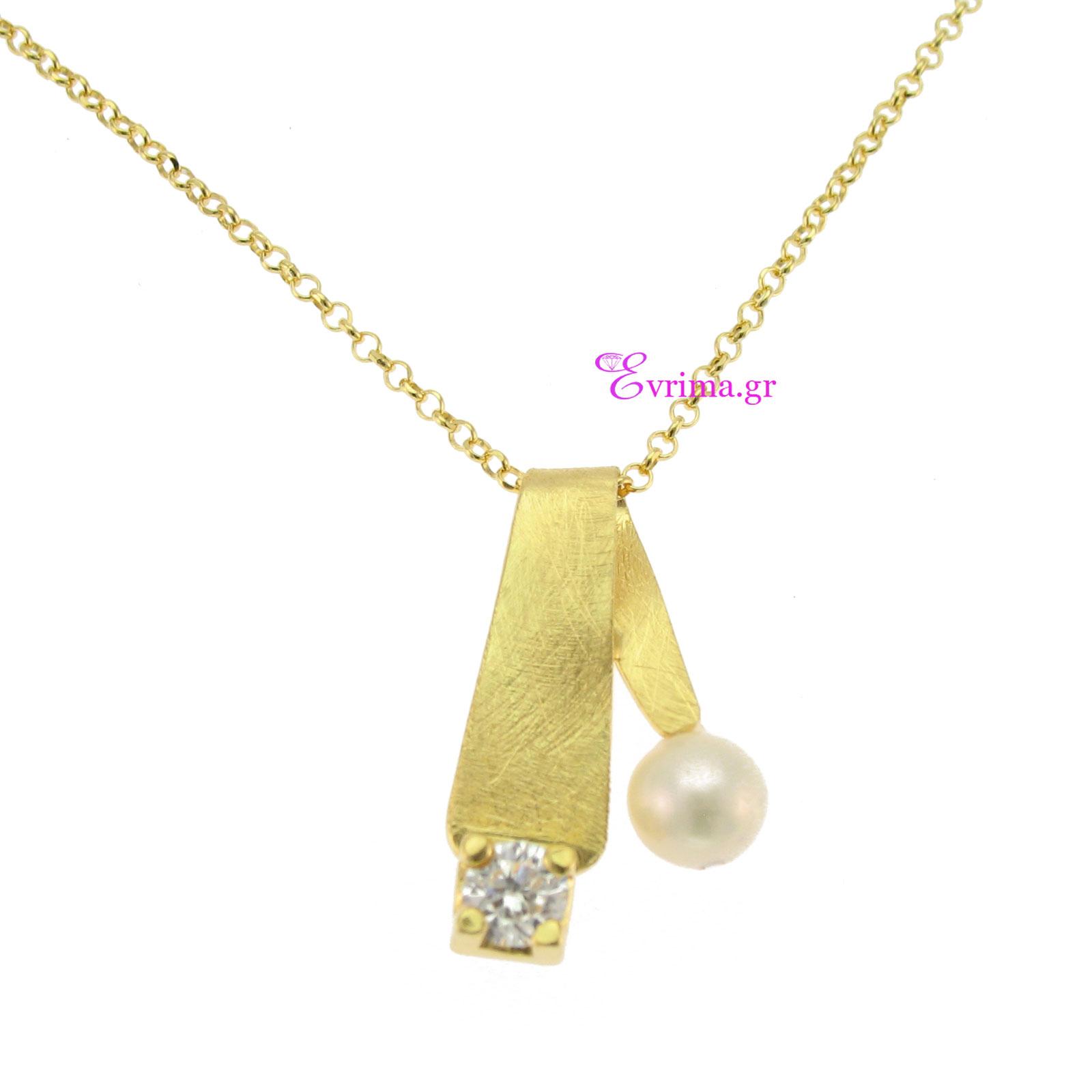 Χειροποίητο κολιέ από επιχρυσωμένο ασήμι 925ο με ημιπολύτιμες πέτρες  (Πέρλες και Ζιργκόν). IJ-040054 e71d7fda2e0