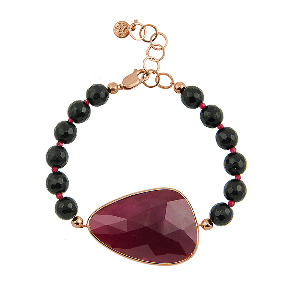 Oxette βραχιόλι 02X05-01536 από ροζ επιχρυσωμένο ασήμι 925ο με ημιπολύτιμες  πέτρες (Κρύσταλλοι Quartz). 3e4a0a6f3be