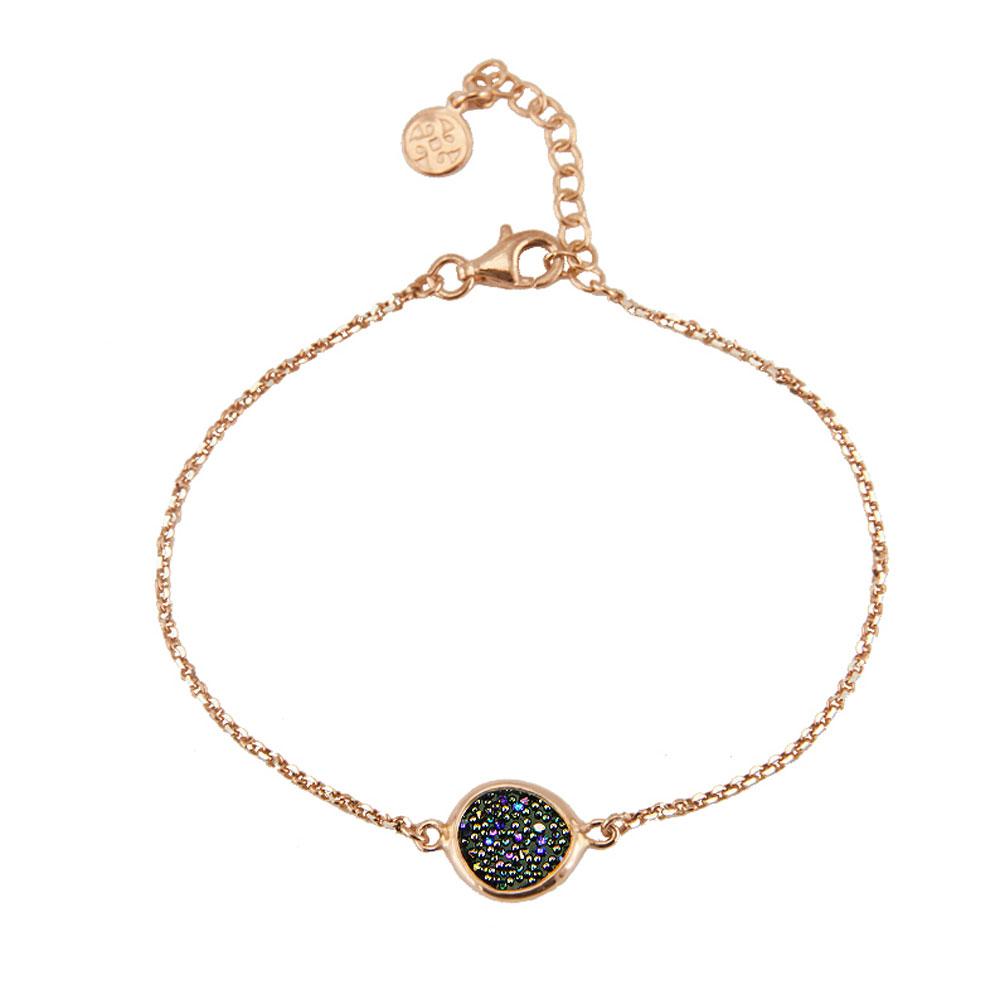 Oxette βραχιόλι 02X05-01576 από ροζ επιχρυσωμένο ασήμι 925ο με ημιπολύτιμες  πέτρες (Κρύσταλλοι Quartz). fba930b9836