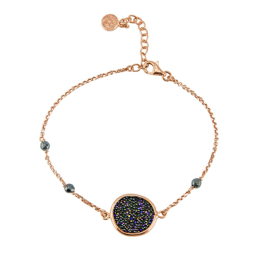 Oxette βραχιόλι 02X05-01577 από ροζ επιχρυσωμένο ασήμι 925ο με ημιπολύτιμες  πέτρες (Κρύσταλλοι Quartz). 0d3d924db58