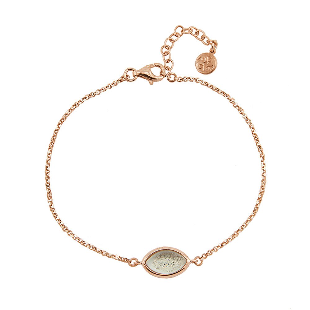 Oxette βραχιόλι 02X05-01580 από ροζ επιχρυσωμένο ασήμι 925ο με ημιπολύτιμες  πέτρες (Κρύσταλλοι Quartz). c3d658bb33f