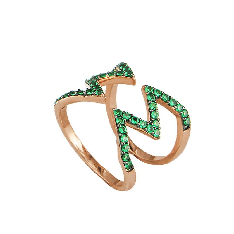 Oxette δαχτυλίδι 04X05-01228 από ροζ επιχρυσωμένο ασήμι 925ο με  ημιπολύτιμες πέτρες (Ζιργκόν). 46eb02a93ad