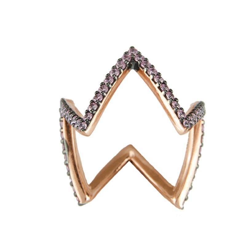 Oxette δαχτυλίδι 04X05-01236 από ροζ επιχρυσωμένο ασήμι 925ο με  ημιπολύτιμες πέτρες (Ζιργκόν). 2a937513287