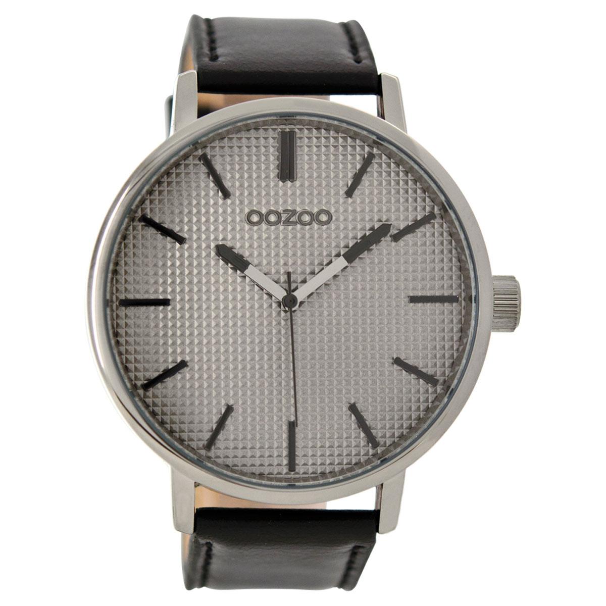 OOZOO Timepieces C9003 ανδρικό ρολόι XL με ασημί μεταλλική κάσα και μαύρο  δερμάτινο λουράκι 69bae7def51
