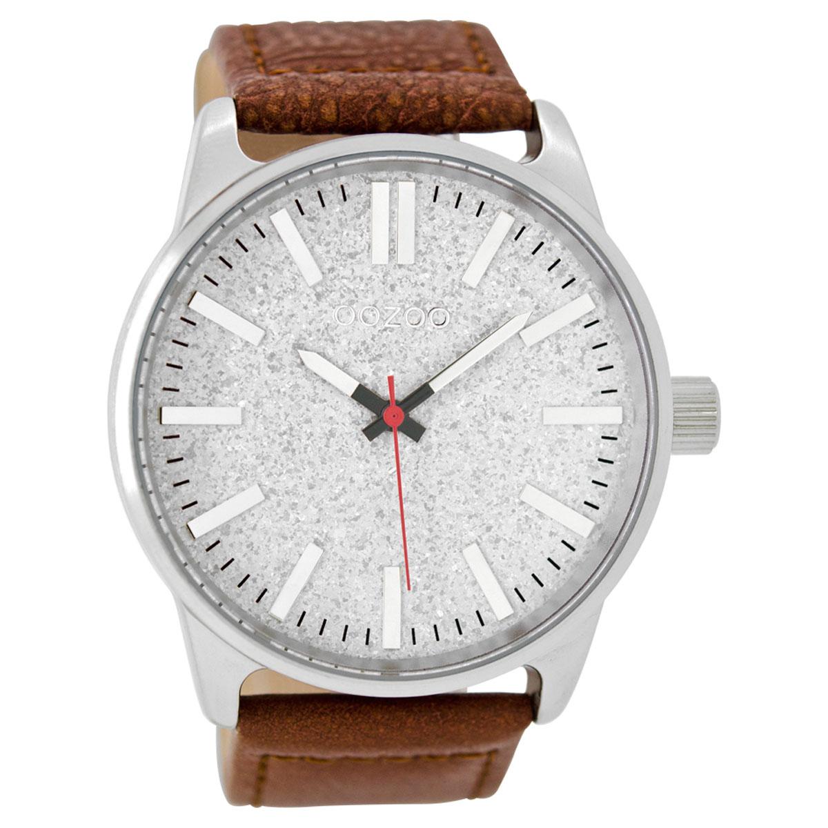 OOZOO Timepieces C9060 ανδρικό ρολόι XL με ασημί μεταλλική κάσα και καφέ  δερμάτινο λουράκι 6819ceb5ba1