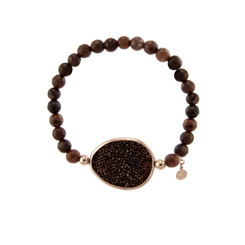 Oxette βραχιόλι 02X05-01598 από ροζ επιχρυσωμένο ασήμι 925ο με ημιπολύτιμες  πέτρες (Αχάτης και Κρύσταλλοι Quartz) 7129d56b213