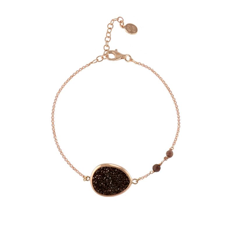 Oxette βραχιόλι 02X05-01618 από ροζ επιχρυσωμένο ασήμι 925ο με ημιπολύτιμες  πέτρες (Αχάτης και Κρύσταλλοι Quartz) 44d940d4c8c