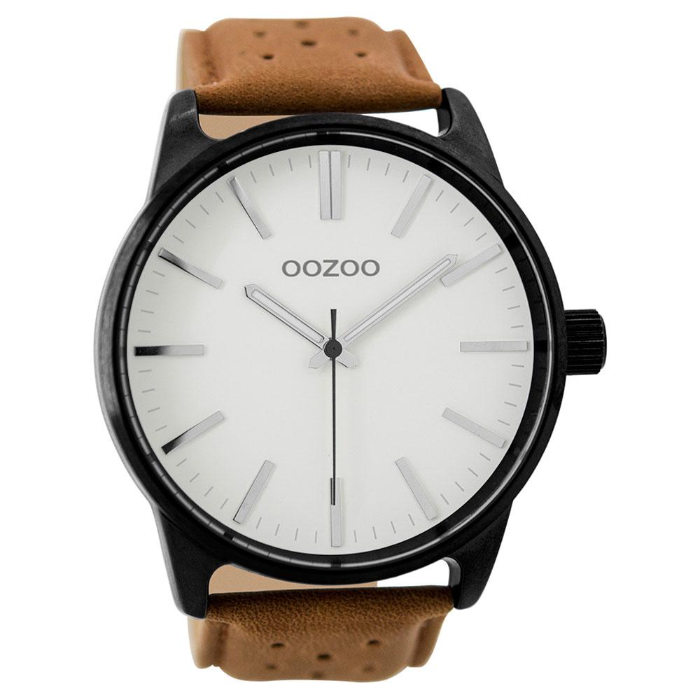OOZOO Timepieces C9420 unisex ρολόι XL με μαύρη μεταλλική κάσα και καφέ  δερμάτινο λουράκι 5550afcbe6b