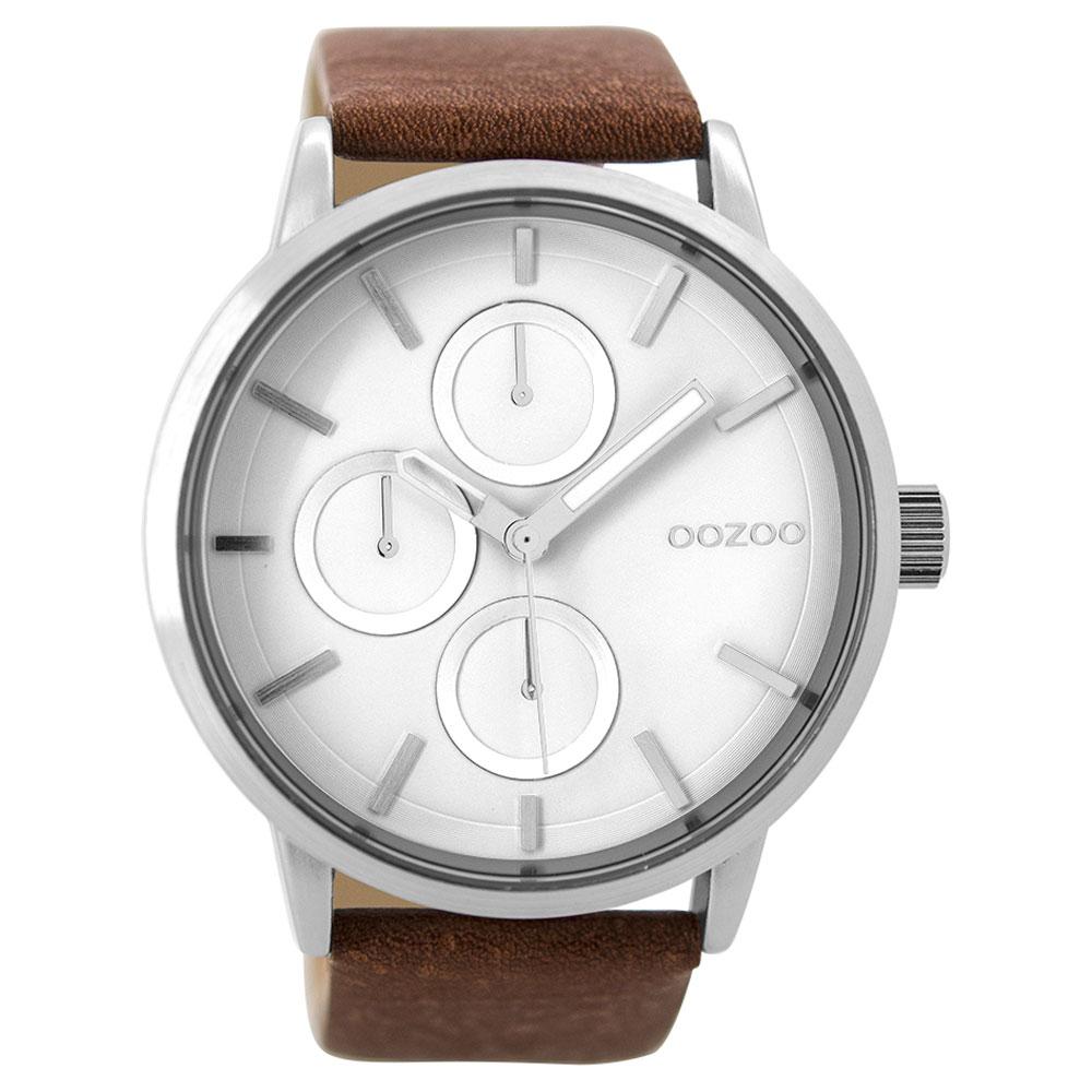 OOZOO Timepieces C9426 unisex ρολόι XL με ασημί μεταλλική κάσα και καφέ  δερμάτινο λουράκι 52ecdd57f9c