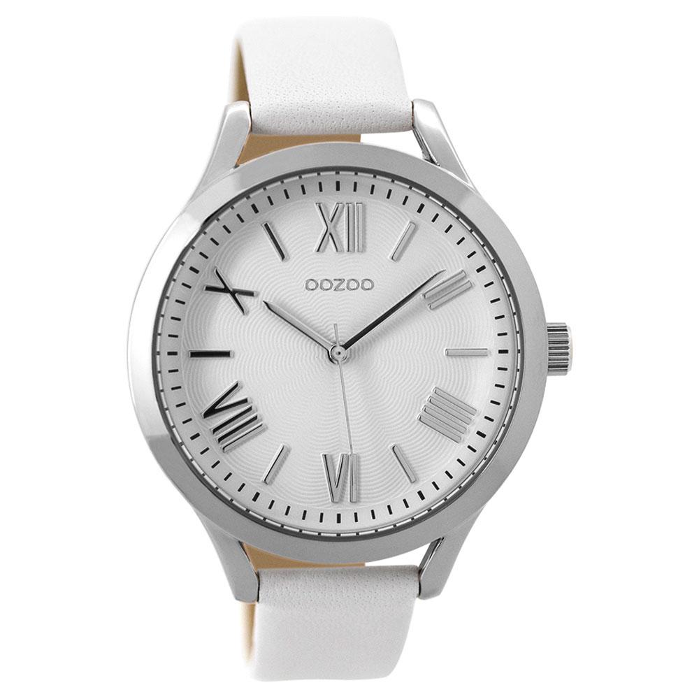 OOZOO Timepieces C9475 γυναικείο ρολόι XL με ασημί μεταλλική κάσα και λευκό  δερμάτινο λουράκι c45129920e8