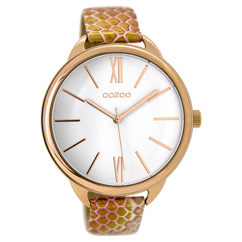 OOZOO Timepieces C9510 ladies watch XL with rose gold metallic frame and pink  gold snake leather strap f67458440bd