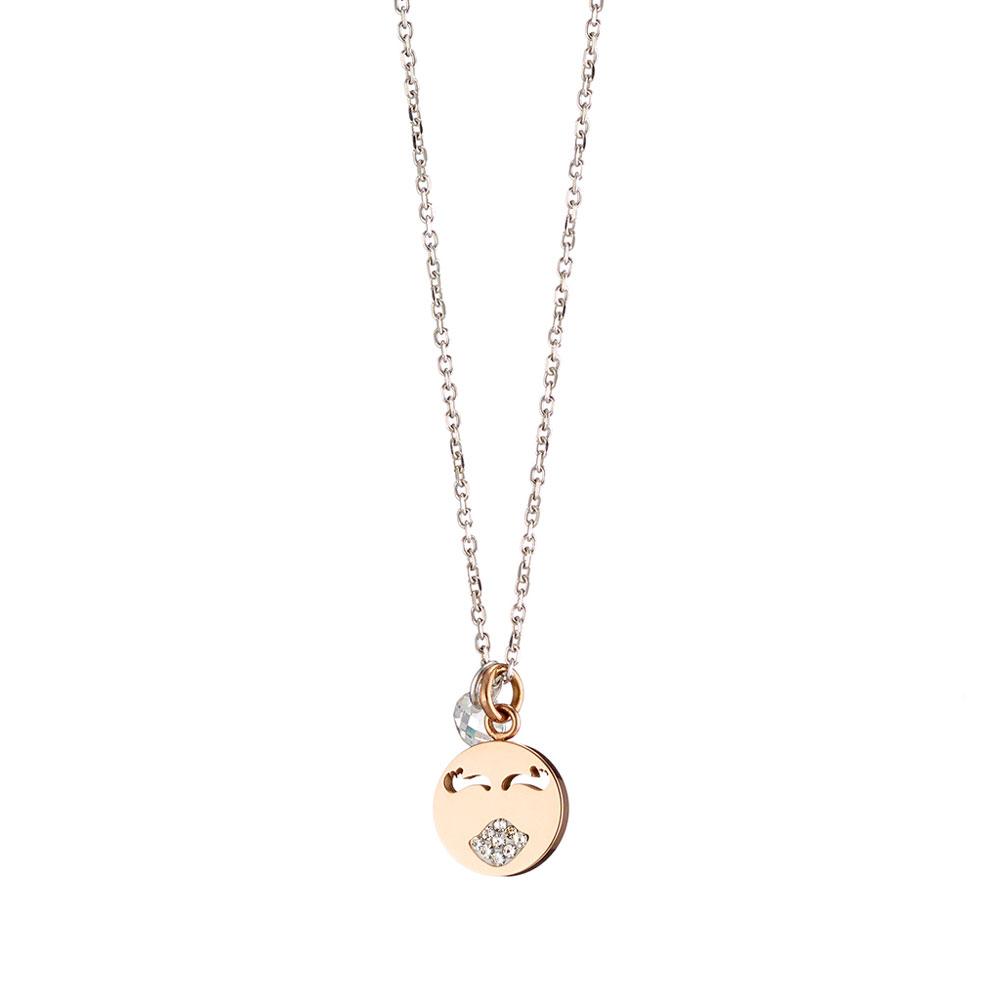 Loisir κολιέ 01L03-00450 emoji από ροζ χρυσό ανοξείδωτο ατσάλι (Stainless  Steel) με ημιπολύτιμες πέτρες (Κρύσταλλοι Quartz) fb7d85af1e6