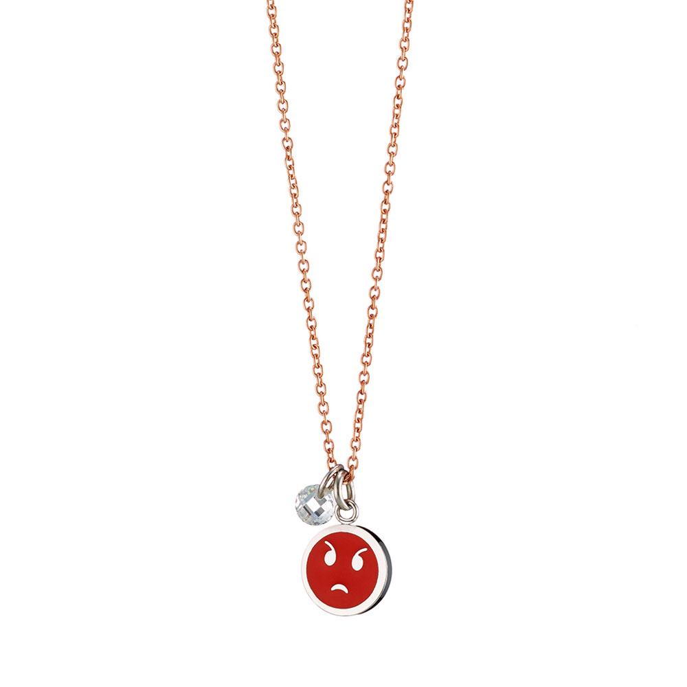 Loisir κολιέ 01L27-00672 emoji από ροζ χρυσό ανοξείδωτο ατσάλι (Stainless  Steel) με ημιπολύτιμες πέτρες (Κρύσταλλοι Quartz) 85c6908bfa0