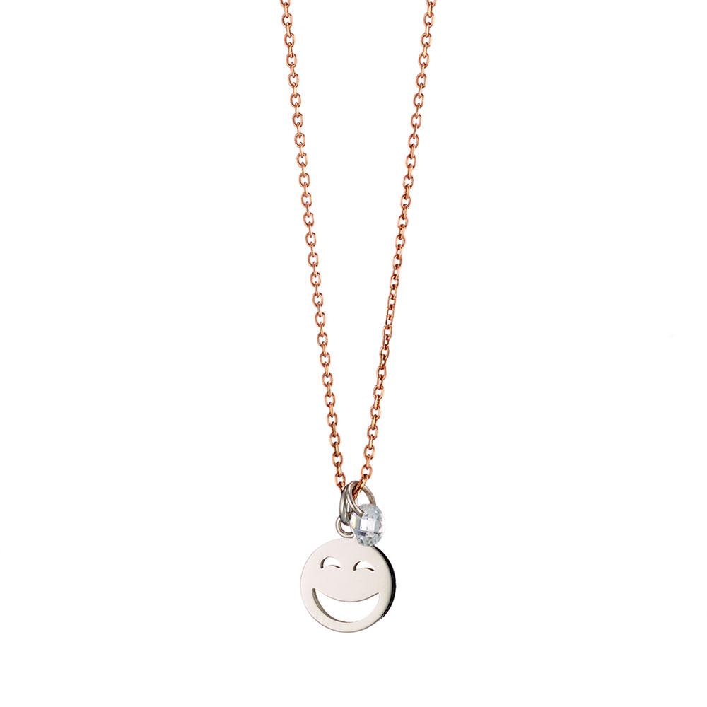 Loisir κολιέ 01L27-00673 emoji από ροζ χρυσό ανοξείδωτο ατσάλι (Stainless  Steel) με ημιπολύτιμες πέτρες (Κρύσταλλοι Quartz) ff03b6983aa