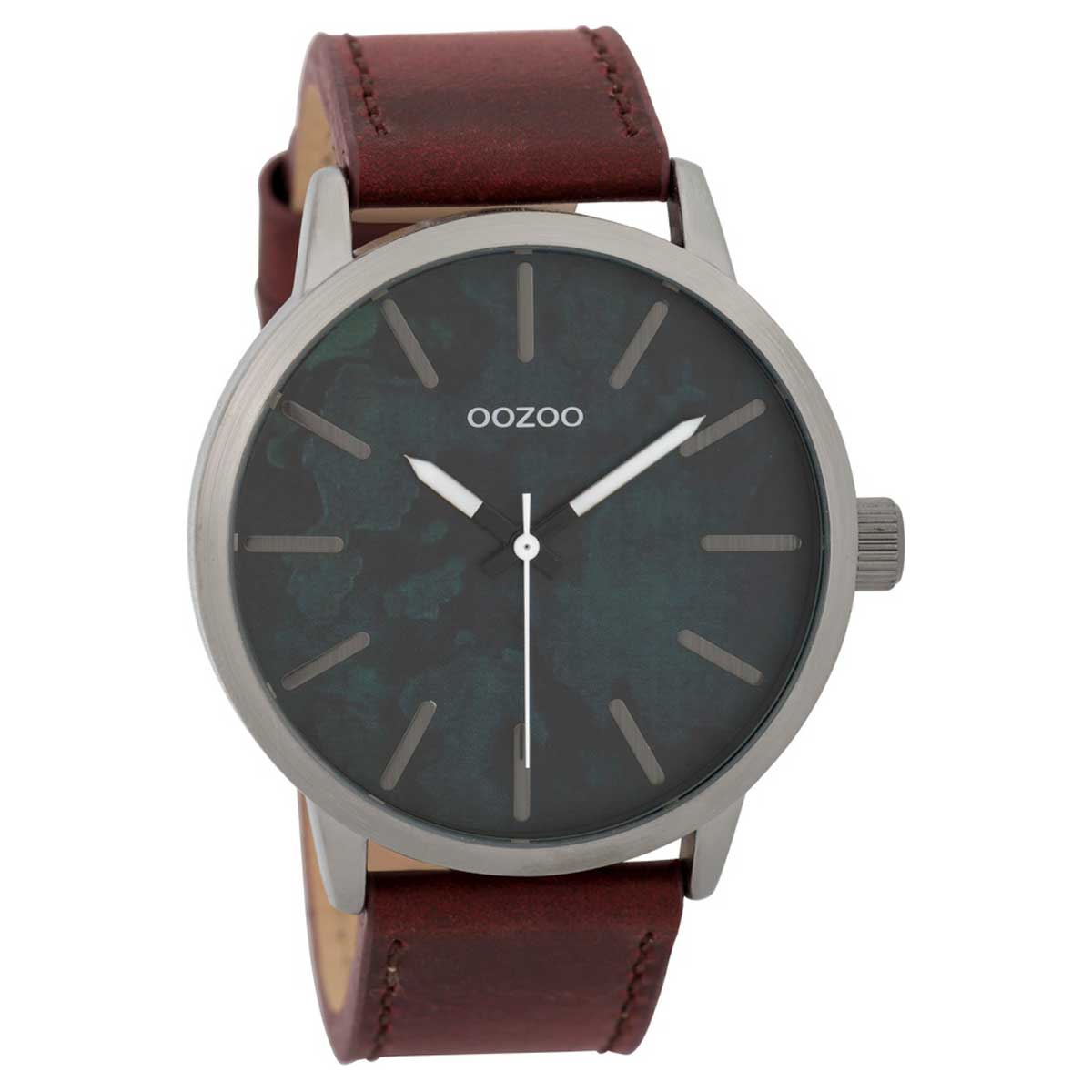 OOZOO Timepieces C9603 gents watch XL with dark silver metallic frame and  red brown leather strap. Tap to expand 13026ac8ee0
