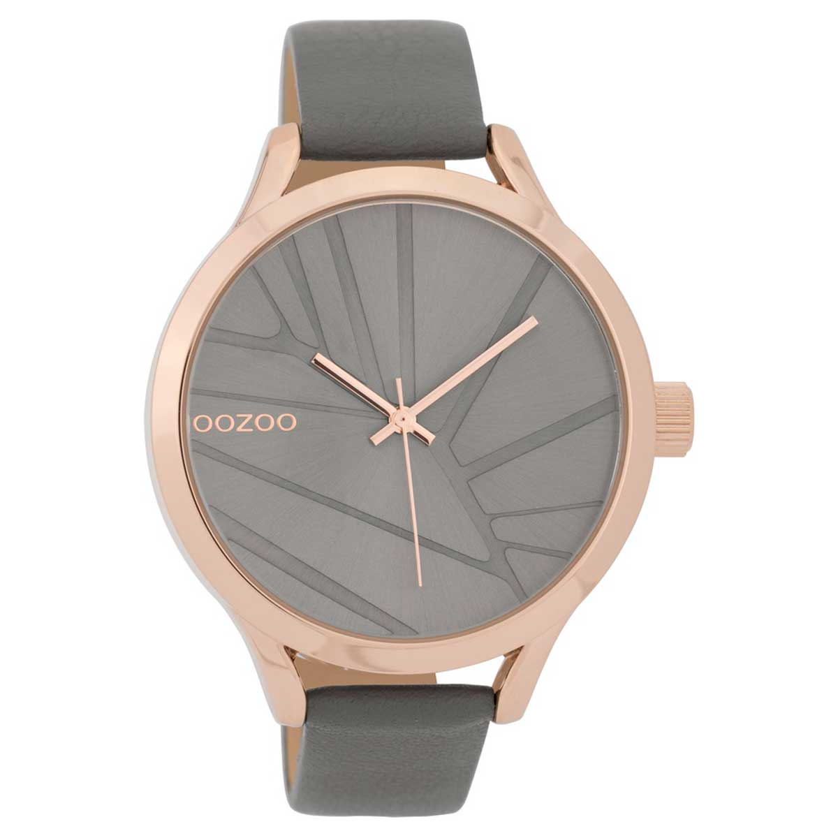 OOZOO Timepieces C9683 ladies watch with rose gold metallic frame and grey  leather strap. Tap to expand 54477d822b3