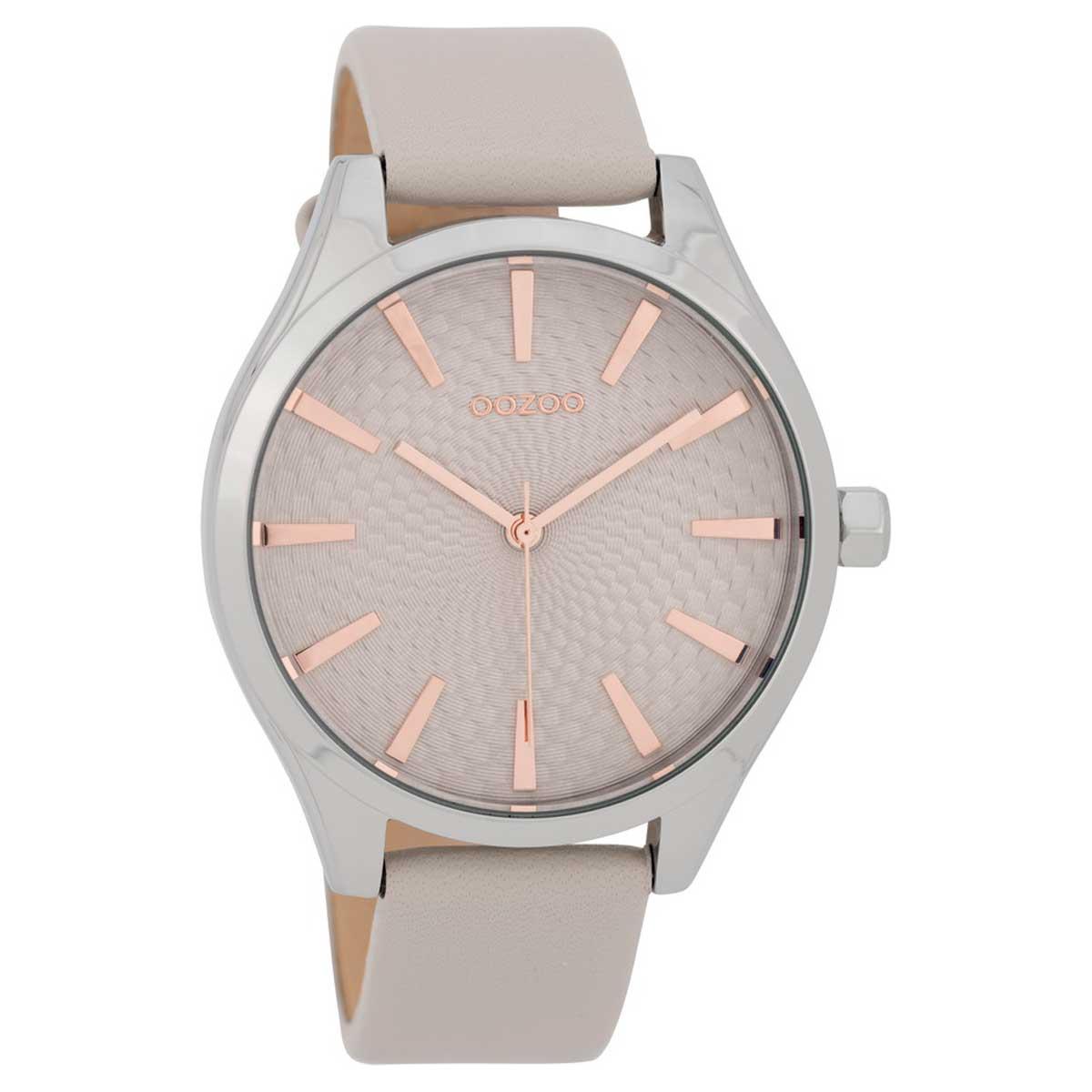 OOZOO Timepieces C9685 γυναικείο ρολόι με ασημί μεταλλική κάσα και γκρι  δερμάτινο λουράκι 174da17e57b